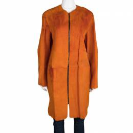 Joseph Orange Fur Kangaroo Skin Zip Front Sydney Coat M