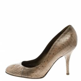 Sergio Rossi Beige Pearl Finish Python Leather Pumps Size 37 123393