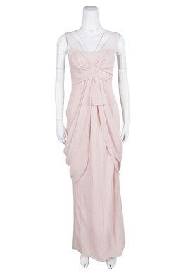 White by Vera Wang Pale Pink Crinkled Chiffon Draped Maxi Dress XS 109668