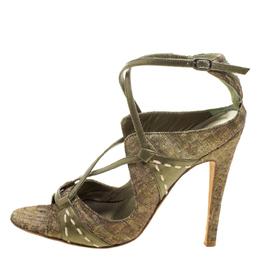Manolo Blahnik Metallic Green Silk Rovani Cross Strap Open Toe Sandals Size 35