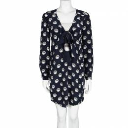 Moschino Navy Blue Silk Pearl Print Long Sleeve Dress M