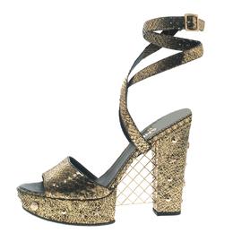 Chanel Metallic Gold Python Ankle Strap Platform Sandals Size 41 112035