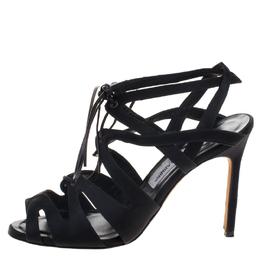 Manolo Blahnik Black Satin Netochka Cage Lace-up Sandals Size 38