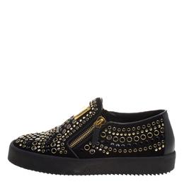 Giuseppe Zanotti Design Black Stud Embellished Suede Eve Slip On Sneakers Size 40
