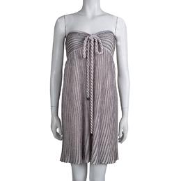 M Missoni Metallic Pink Lurex Knit Halter Dress XL