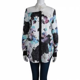 3.1 Phillip Lim Floral Printed Silk Sheer Yoke Detail Shirt S