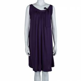 Joseph Purple Silk Gathered Sleeveless Dress S