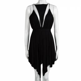 Balmain Black Triangular Front Detail Sleeveless Dress S 92613