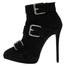 Giuseppe Zanotti Design Black Buckled Suede Platform Ankle Boots Size 38