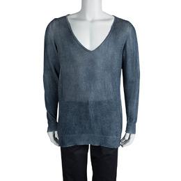 Loro Piana Indigo Knit Washed Effect V-Neck Sweater M 82487