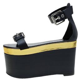 Giuseppe Zanotti Design Black Leather Ankle Strap Platform Sandals Size 36