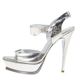 Saint Laurent Paris Metallic Silver Leather Ankle Strap Platform Sandals Size 41 85860