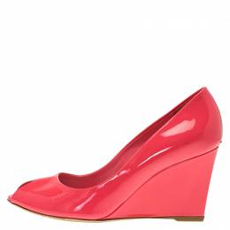 Dior Candy Pink Patent Peep Toe Wedge Pumps Size 38.5 83506