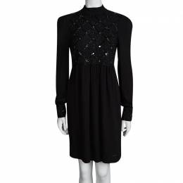 Red Valentino Black Embellished Mandarin Collar Long Sleeve Dress M 94893