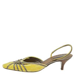 Bottega Veneta Canary Yellow Velvet and Leather Slingback Sandals Size 41 84097