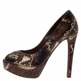 Dior Burgundy Python Leather Peep Toe Pumps Size 37 83520