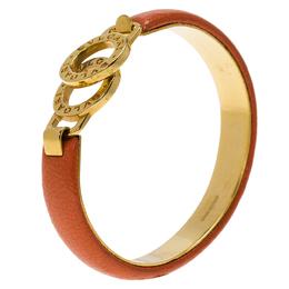 Bvlgari Bvlgari Coral Leather Gold Tone Bangle Bracelet 17cm