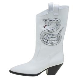 Giuseppe Zanotti Design White Snake Embellished Leather Guns 55 Cowboy Boots Size 41 88014