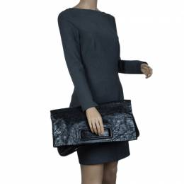 Miu Miu Black Glazed Distressed Leather Oversized Clutch