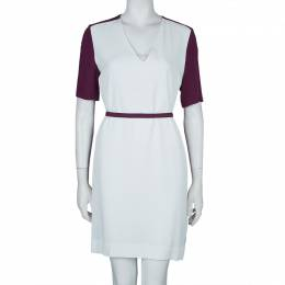 Victoria, Victoria Beckham Purple and White Belted Shift Dress S