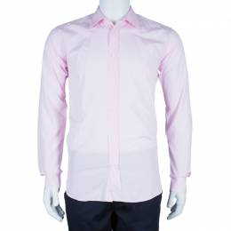 Hermes Men's Pink Straight Fit Poplin Shirt S 44351