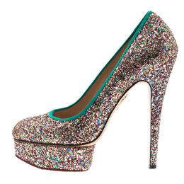 Charlotte Olympia Silver Glitter Priscilla Platform Pumps Size 39.5 5512