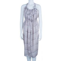 See By Chloe Ruffle Printed Washed Satin Dress S