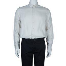 Salvatore Ferragamo Men's Beige Striped Shirt L 47904