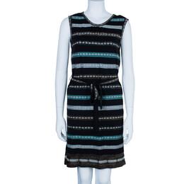 M Missoni Multicolor Shift Belted Knit Dress M 2298