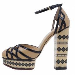 Charlotte Olympia Beige and Black Ay Caramba! Ankle Strap Sandals Size 40 14
