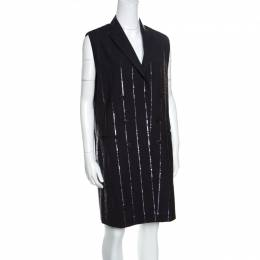 Brunello Cucinelli Grey Wool Sequin Striped Sleeveless Blazer Dress M