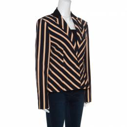 Emanuel Ungaro Multicolor Diagonal Striped Tailored Blazer L
