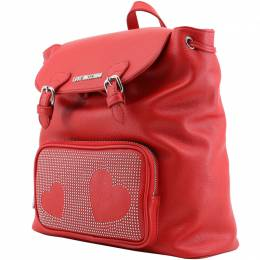 Love Moschino Red Faux Leather Studded Backpack