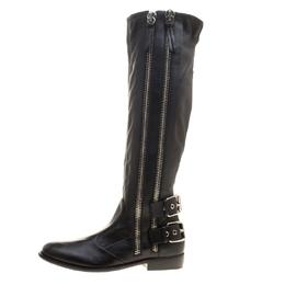 Giuseppe Zanotti Design Black Leather Zip Trimmed Cobain Knee Boots Size 41 142513