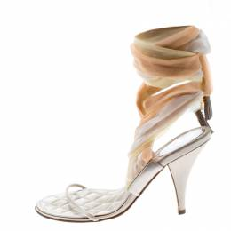 Chanel Multicolor Satin and Silk Crepe Tie Up Sandals Size 37 159265