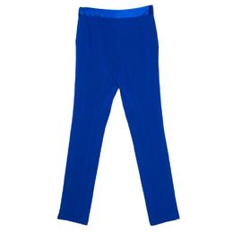 Diane Von Furstenberg Cobalt Blue Textured Crepe Genesis Long Pants XS