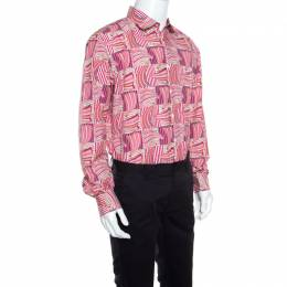 Salvatore Ferragamo Pink Sailboat Printed Cotton Long Sleeve Shirt XL 160283