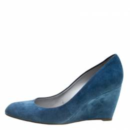 Sergio Rossi Blue Suede Wedge Pumps Size 37.5 160846