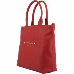 Versace Jeans Red Faux Pebbled Leather Tote 161927