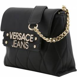 Versace Jeans Black Faux Quilted Leather Shoulder Bag 226977