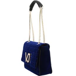 Versace Jeans Blue Signature Fabric Chain Flap Bag 161963