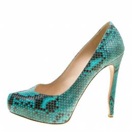 Nicholas Kirkwood Two Tone Python Leather Platform Pumps Size 38 162016