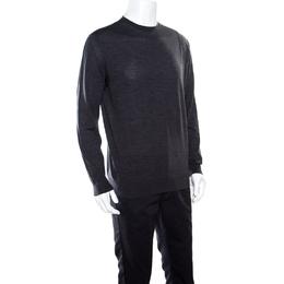 Ermenegildo Zegna High Performance Dark Grey Ribbed Trim Sweater L 163294