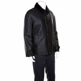 Ermenegildo Zegna Black Mink Fur Collar Detail Zip Front Deer Leather Jacket 3XL 163280