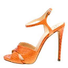Giuseppe Zanotti Design Orange Python Embossed Leather Cross Strap Sandals Size 39