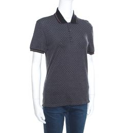 Gucci Grey Cotton Jacquard Striped Web Trim Polo T-Shirt XS 163398