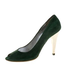 Miu Miu Green Suede Peep Toe Pumps Size 37.5 131836