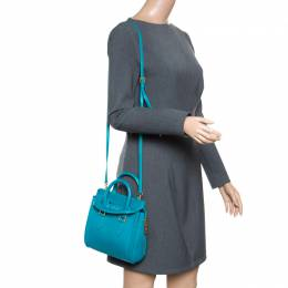 Alexander McQueen Teal Leather Mini Heroine Top Handle Shoulder Bag 165084