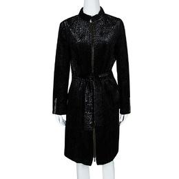 Yves Saint Laurent Shiny Black Quilted Velvet Belted Long Coat M 106465