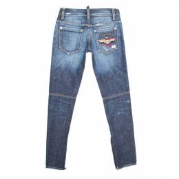 Dsquared2 Indigo Dark Wash Faded Effect Embroidered Distressed Denim Jeans S